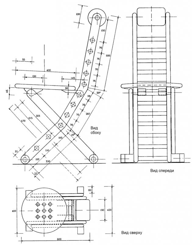 Складной стул со спинкой своими руками схема 948